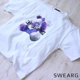 ロゴビッグTシャツ プリントTシャツ オシャレ ロゴ Tシャツ 綿100% メンズ レディース ユニセックス 黒 白 プリント くま テディベア 半袖 ビッグシルエット ホワイト ブラック モーブ 夏 ルームウェア シンプル カジュアル おしゃれ 韓国ファッション