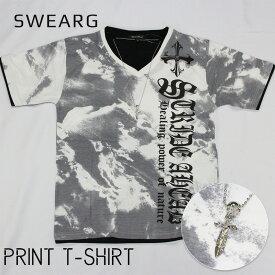 【ネックレス付き】総柄プリント Tシャツ メンズ レディース ユニセックス 半袖 プリント 重ね着風 ロゴ シャツ M L LL 3L 4L 大きいサイズ メンズ 白 春 夏 ルームウェア スカル ネックレス パンク バンド かっこいい 個性的 おしゃれ ホワイト