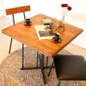 【送料無料】カフェテーブル 1本脚 古材風 天然木 家具 木製 男前 ビンテージ ヴィンテージ 西海岸 ミッドセンチュリー コンパクト 幅72 72 モダン アンティーク風 アイアンテーブル