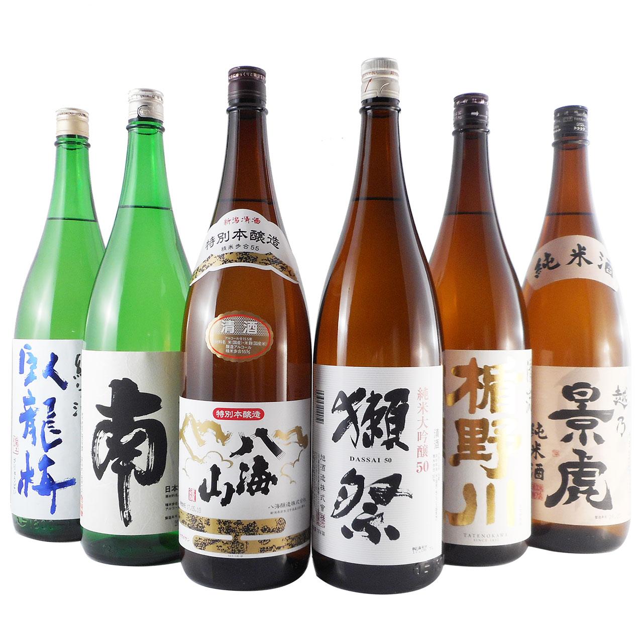 【お歳暮 ギフト】日本酒 飲み比べセット 一升瓶 6本 臥龍梅、南、八海山、獺祭、楯野川、越乃景虎1.8L送料無料