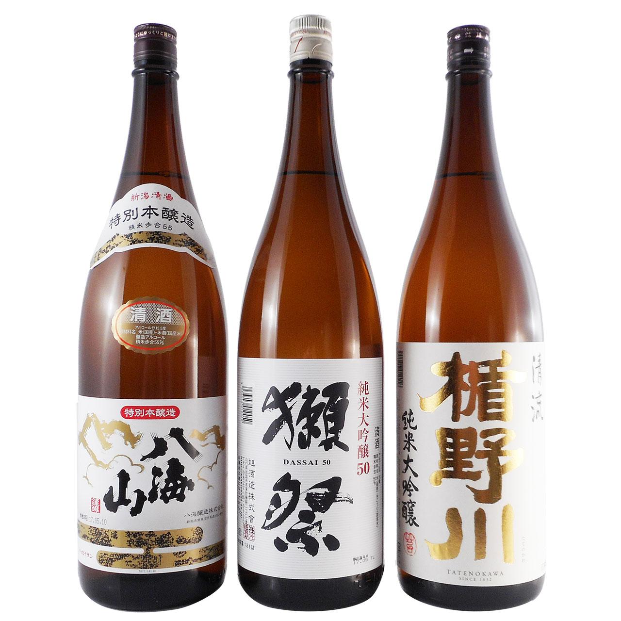 【お歳暮 ギフト】日本酒 飲み比べセット 一升瓶 3本 八海山、獺祭、楯野川 1.8L