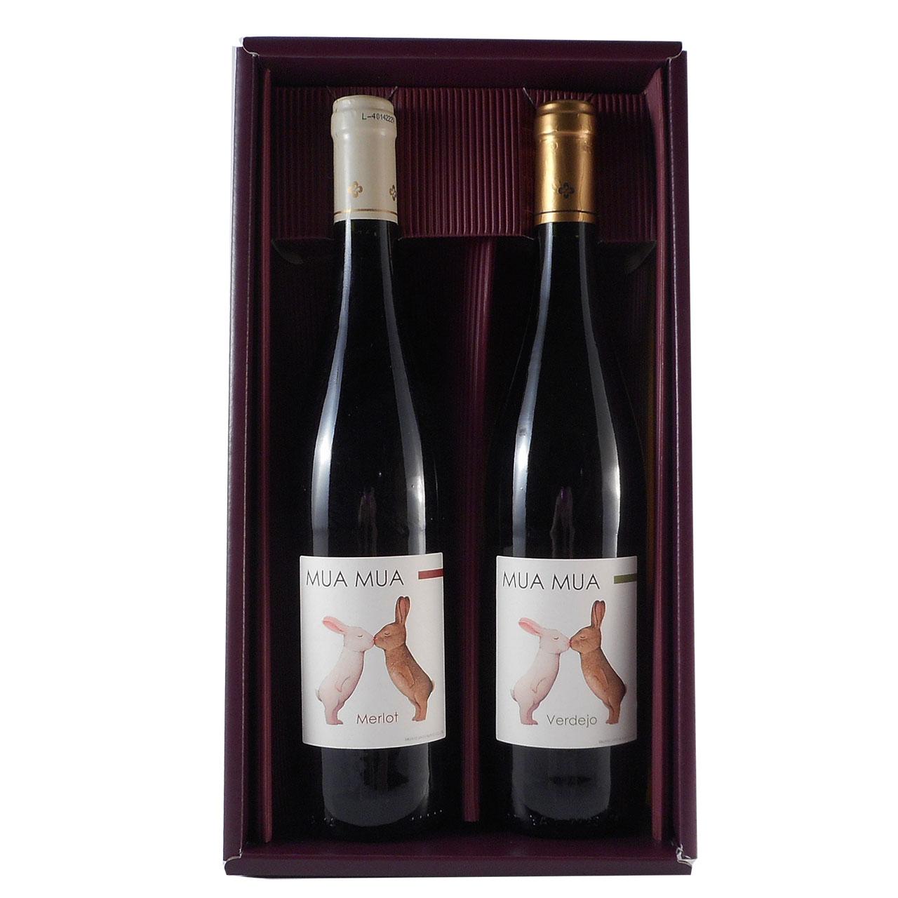お中元 ギフト ワイン ギフトセット ムアムア ブランコ ティント うさぎのラベルが可愛いワインセット 赤白2本 ギフトセット 750ml スペイン 赤ワイン 白ワイン 送料無料 楽ギフ_のし 結婚祝い 内祝 バレンタイン