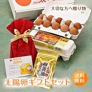 送料無料「太陽卵ギフトセット(太陽卵10個入り×2パック・黒にんにく卵黄油サプリ60粒入り)」お歳暮 贈答用 九州産 赤玉 青森県産にんにく