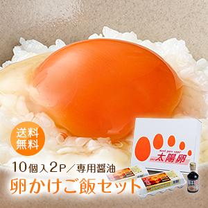 送料無料「卵かけご飯セット(太陽卵10個2パック×卵かけご飯専用醤油1本)」赤玉 鶏卵 新鮮 九州産 TKG 贈答用 ギフト お歳暮 こだわり卵