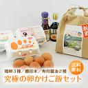 送料無料「究極の卵かけご飯セット(九州産新鮮卵3種類×6個入り・棚田米2kg・専用醤油2種類)」赤玉 ギフト プレゼン…