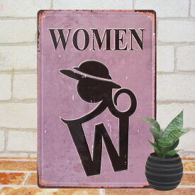 トイレ インテリア 雑貨 アートパネルe WOMEN 貴婦人 ポスター ブリキ看板 女性用 トイレット 化粧室 雑貨 紫色 マーク 壁掛け サインボード サインプレート レトロ風 アンティーク風 絵画 収納 トイレ用品 店舗用 メール便可