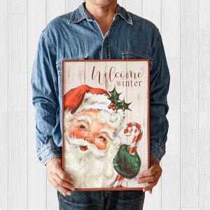 クリスマス アートフレーム 壁飾り 木製看板45 サンタクロースd インテリア ポスター アートパネル クリスマス雑貨 置物 サインボード サインプレート 壁掛け 大型 大きい 赤白 子供部屋 リ