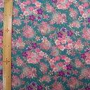 レーヨンちりめんプリント 桜と桔梗 ブルー 65cm幅【布地 生地 和柄】