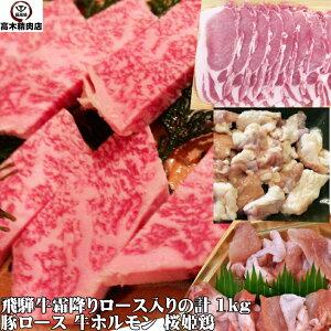 飛騨牛ロース入焼肉セット 1kg【送料無料】バーベキュー 牛肉 豚肉 鶏肉 牛ホルモン 父の日 お中元 お歳暮 ホワイトデー