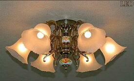 AKL204-H6-833LED アカネライティング スペイン製SeriesA 陶器 833ガラス6灯 直付シャンデリア  [LED電球色][〜6畳]