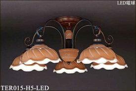 TER015-H5-LED アカネライティング テラコッタシリーズ 陶器グローブ5灯 イタリア製直付シャンデリア  [LED電球色]