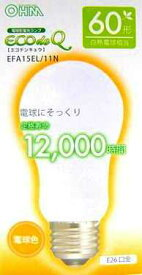 EFA15EL11N オーム電機 ECOdeQ エコ電球 60形白熱電球相当 電球形蛍光ランプ [蛍光灯電球色]