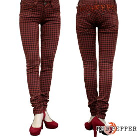 RED PEPPER JEANS レッドペッパージーンズ レディース 赤×黒チェック スキニー 5814