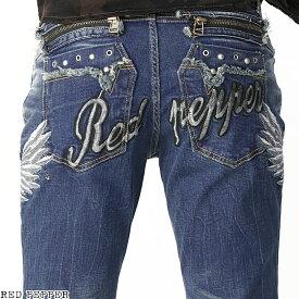 レッドペッパージーンズ RED PEPPER JEANS メンズ ウイング刺繍メンズ セミストレートデニム No.RJ2081