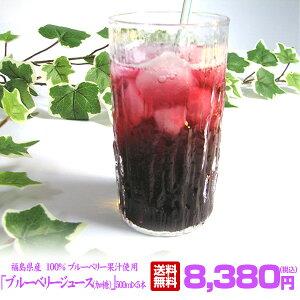 ブルーベリージュース(加糖) 500ml×5本入りセット ストレート 果汁100% 福島県産 ブルーベリー園みうら ストレート ブルーベリージュース 100%