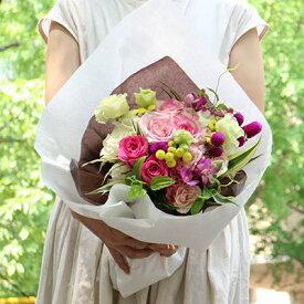 花束 Loulou ブーケタイプ ピンク 白 ギフト 誕生日 バラ フラワー 別途送料 生花 結婚祝い 結婚記念日 プレゼント