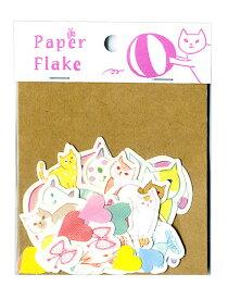 ネコいっぱいのデコレーションでアルバム作りをもっと楽しく!玉ネコ・ぶち猫・ハート・さかな・蝶などかわいいイラストシート27種。スクラップブックにもぴったり。Paper Flake(APF-01):玉ネコ