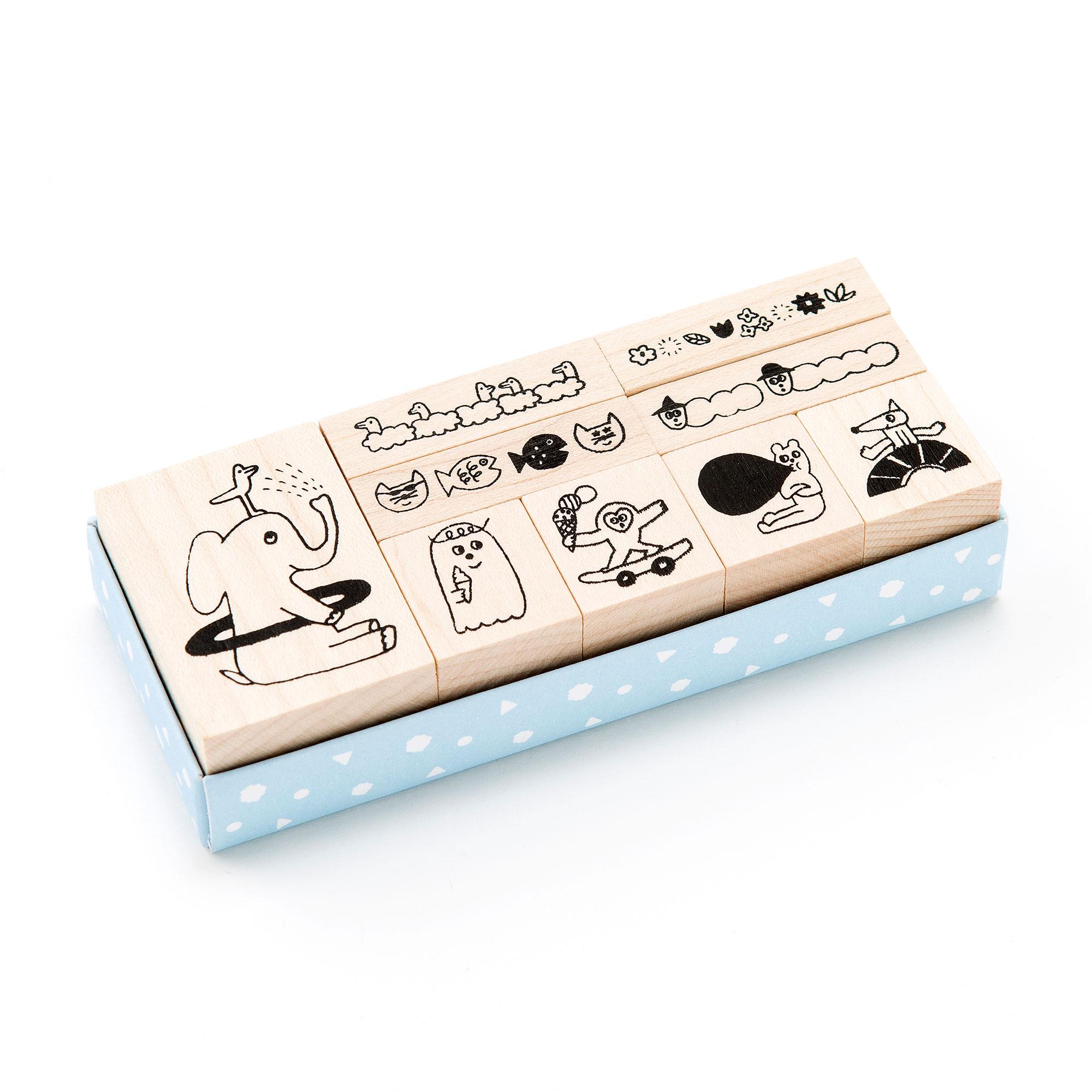 スタンプセット かわいい ラッピング STAMP スケジュール帳 手帳に☆動物がキュート!雑貨・文房具のAIUEO PLAY (ASP-16)