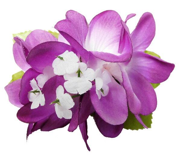 フラダンス衣装 髪飾り 花飾り ローズ ヘアクリップ レイ イベント フラ Eプルメリア ヘアクリップ パープル 紫