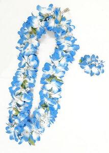 フラダンス衣装 レイ ハワイ 花飾り イベント フラ ハワイアンレイ フラワーレイ レイ B05c Eプルメリアレイ+Eプルメリアヘアクリップセット ブルー 青
