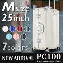 【クーポン配布中】 スーツケース M サイズ 高級ポリカーボネート100% 中型 高品質 フレームタイプ 4輪×Wキャスター…
