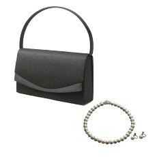 【フォーマル3点セット】バッグネックレスイヤリングふくさハンカチ数珠折畳トート