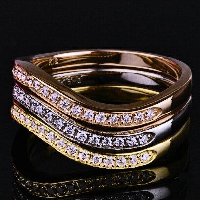 K18ホワイト・ピンク・イエローゴールド3連 ダイヤモンド ハーフエタニティーリング