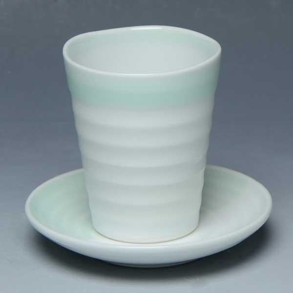 京焼 清水焼 京 焼き 京焼き 酒器 酒杯セット 1客 紙箱入り 白と緑冷 しろとみどり