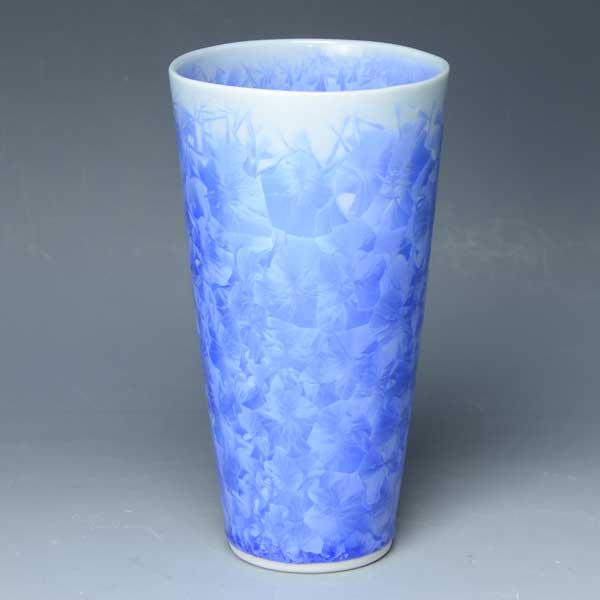 京焼 清水焼 京 焼き 京焼き 酒器 ビアカップ 1客 紙箱入り 花結晶(青) はなけっしょうあお