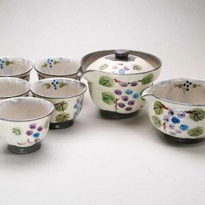 【 送料無料 】 京焼 清水焼 京 焼き 京焼き 茶器 宝瓶 1客 さまし 1客 碗揃 5客 紙箱入り 彫ぶどう