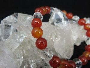 高品質 赤メノウ、カーネリアン、水晶 第1、第2チャクラ ブレスレット 婦人科系や女性の体調に 人間関係 健康運 天然石 パワーストーン アクセサリー メノウ カーネリアン 水晶 第一