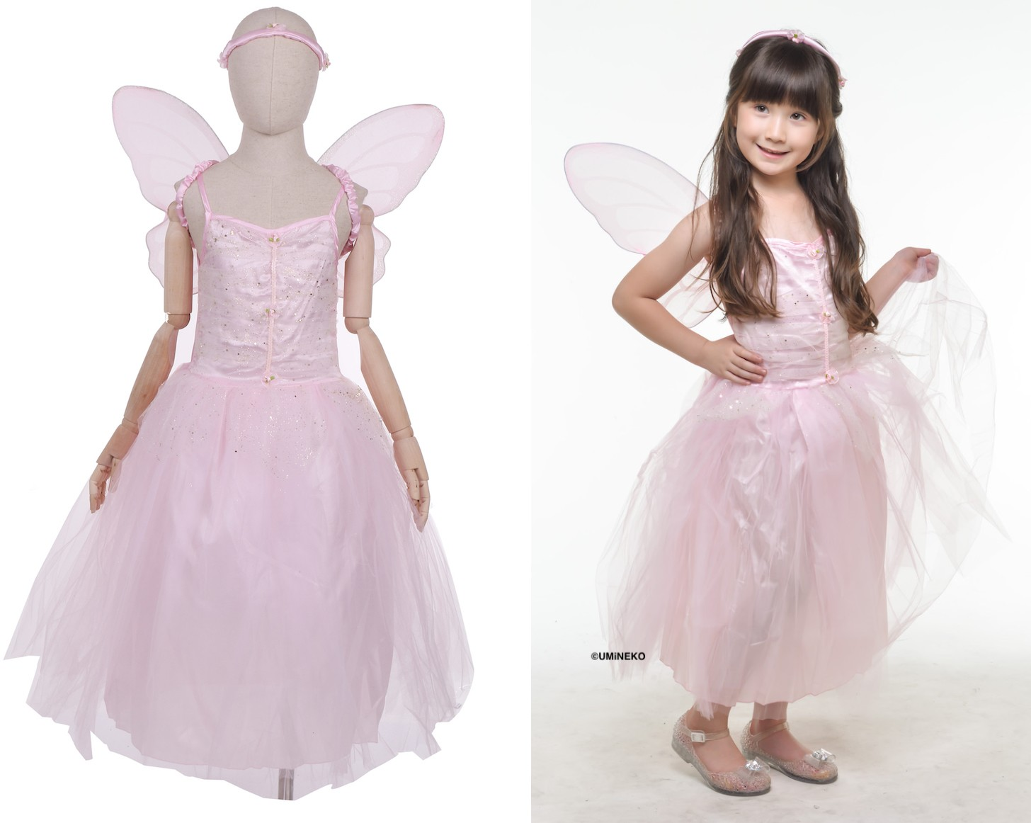 ハロウィン 衣装 コスチューム コスプレ 仮装 女の子 子ども 子供 キッズ 小学生 保育園 かわいい お手軽 フェアリー ちょうちょ 蝶 蝶々エルフ 妖精ドレス 3点セット かわいい ふんわりシルエット 90 100cm ピンク