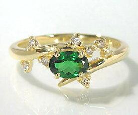 K18 グリーンガーネット ダイヤモンド リング 「spumare」送料無料 指輪 ゴールド 18K 18金 ツァボライト ダイアモンド 誕生日 1月誕生石 刻印 文字入れ メッセージ ギフト 贈り物 ピンキーリング対応可能