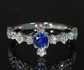 K18 ブルーサファイア ダイヤモンド リング 「siena」送料無料 指輪 サファイヤ ダイアモンド ゴールド 18K 18金 誕生日 9月誕生石 ミル打ち 刻印 文字入れ メッセージ ギフト 贈り物 ピンキーリング対応可能