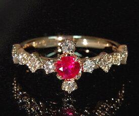 K18 ルビー ダイヤモンド リング 「siena」送料無料 指輪 ダイアモンド ゴールド 18K 18金 誕生日 7月誕生石 ミル打ち 刻印 文字入れ メッセージ ギフト 贈り物 ピンキーリング対応可能
