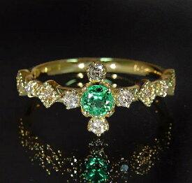 K18 エメラルド ダイヤモンド リング 「siena」送料無料 指輪 ダイアモンド ゴールド 18K 18金 誕生日 5月誕生石 ミル打ち 刻印 文字入れ メッセージ ギフト 贈り物 ピンキーリング対応可能