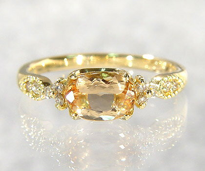 K18 インペリアルトパーズ ダイヤモンド リング 「amanza」送料無料 指輪 ダイアモンド ゴールド 18K 18金 誕生日 11月誕生石 刻印 文字入れ メッセージ ギフト 贈り物 ピンキーリング対応可能