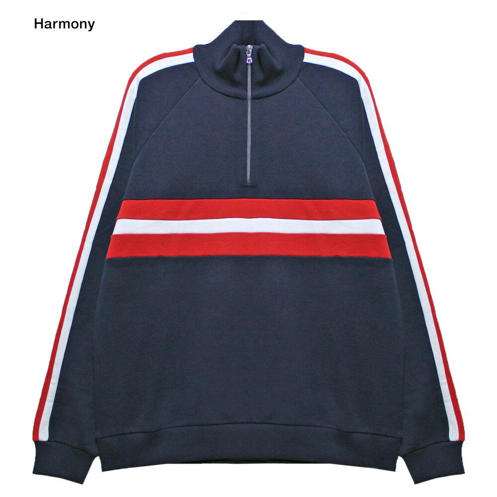 HARMONY (ハーモニー) SOFIAN SWEATSHIRT (NAVY/RED) [モックネック/ハイネック/スウェットシャツ/ジャージ/ストライプ/UNISEX] [ネイビー/レッド]