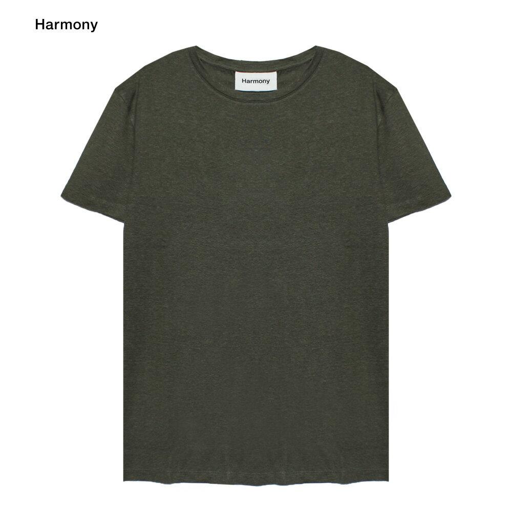 HARMONY (ハーモニー) TAVIN T-SHIRT (DARK KHAKI) [Tシャツ/カットソー/リネン/無地/UNISEX] [ダーク カーキ]