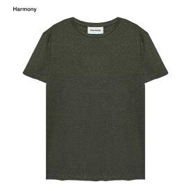 【最大50%OFFセール】HARMONY (ハーモニー) TAVIN T-SHIRT (DARK KHAKI) [Tシャツ カットソー トップス ブランド リネン カジュアル ストリート メンズ レディース ユニセックス 無地 半袖 UNISEX] [ダーク カーキ]