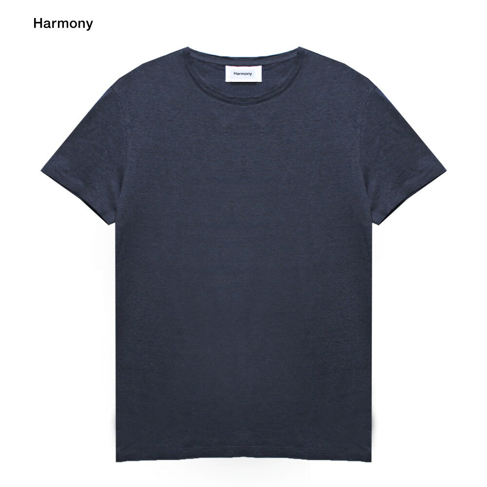 HARMONY (ハーモニー)TAVIN T-SHIRT (NAVY) [Tシャツ/カットソー/リネン/無地/UNISEX] [ネイビー]