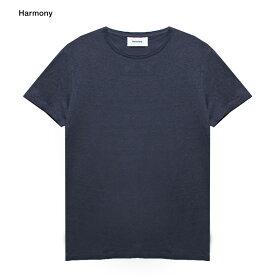 【最大70%OFF COUPON SALE】HARMONY (ハーモニー) TAVIN T-SHIRT (NAVY) [Tシャツ カットソー トップス ブランド リネン カジュアル ストリート メンズ レディース ユニセックス 無地 半袖 UNISEX] [ネイビー]