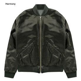HARMONY (ハーモニー) MURRAY BOMBER JACKET (DARK KHAKI) [ボンバージャケット ブルゾン アウター ブランド シャーリング オリーブ カジュアル ストリート メンズ レディース ユニセックス 中綿 MA-1 UNISEX] [ダーク カーキ]