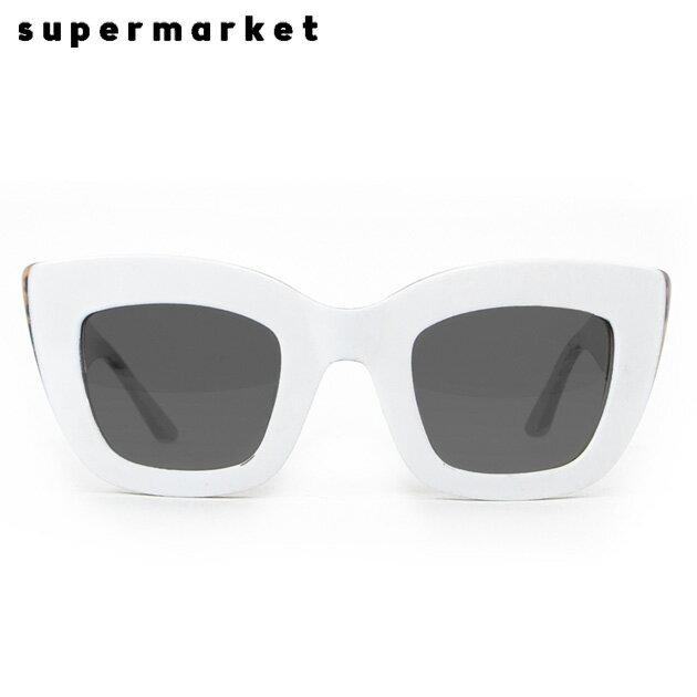 SUPERMARKET (スーパーマーケット) CAT FOOD SUNGLASSES (COOKIES & CREAM) [サングラス/スモークレンズ/キャットアイ/ハンドメイド/豹柄/UVカット/UNISEX] [ホワイト]