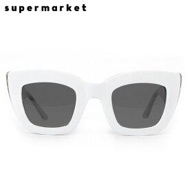 SUPERMARKET (スーパーマーケット) CAT FOOD SUNGLASSES (COOKIES & CREAM) [サングラス スモークレンズ キャットアイ ハンドメイド ストリート メンズ レディース ユニセックス 豹柄 UVカット UNISEX] [ホワイト]