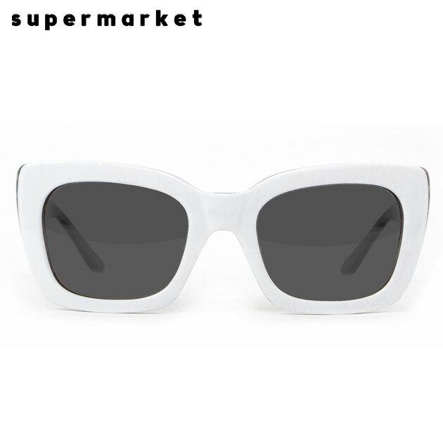 SUPERMARKET (スーパーマーケット) SHOPLIFTER SUNGLASSES (COOKIES & CREAM) [サングラス/スモークレンズ/スクエア/ハンドメイド/UVカット/UNISEX] [ホワイト]
