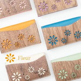 VARCO REAL WOOD フルール カードケース レディース おしゃれ 名刺入れ 革 本革 革製 ヌメ革 日本製 木製 かわいい 花柄 フラワー 女性 デザインカードケース 名刺 マルチカラー カジュアル 手作り ブランド