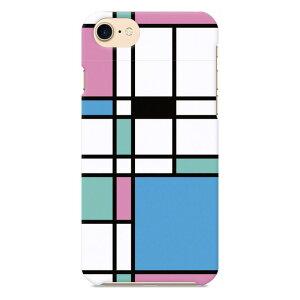 iPhone5/5s/SE 用スマホケース モンドリアン モンドリアン柄 ブロック 四角 チェック 幾何学模様 カラフル ボックス ペア おそろい 流行 おしゃれ