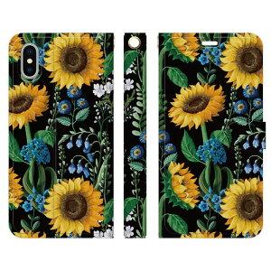 iPhone XS X 用スマホケース 手帳型 ひまわり ブラック ボタニカル 向日葵 花 花柄 はながら フラワー グリーン おしゃれ きれい かわいい 大人 プレゼント ギフト レディース 女性