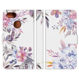 Google Pixel 3 用スマホケース 手帳型 水彩 花 花柄 はな ウォーターカラー ブーケ かわいい おしゃれ 大人かわいい フェミニン ホワイト ピンク パープル 紫 可愛い おすすめ 人気 携帯カバー ケース レディース 女性 プレゼント グッズ 雑貨